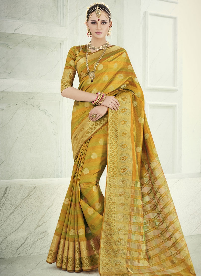 Praiseworthy Mustard Color Banarasi Silk Party Wear Saree
