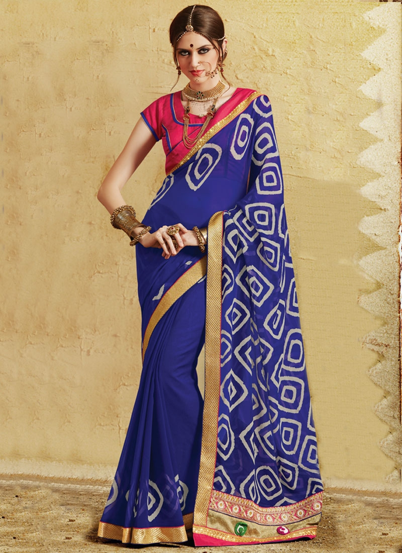 Praiseworthy Patch Border And Stone Work Party Wear Saree