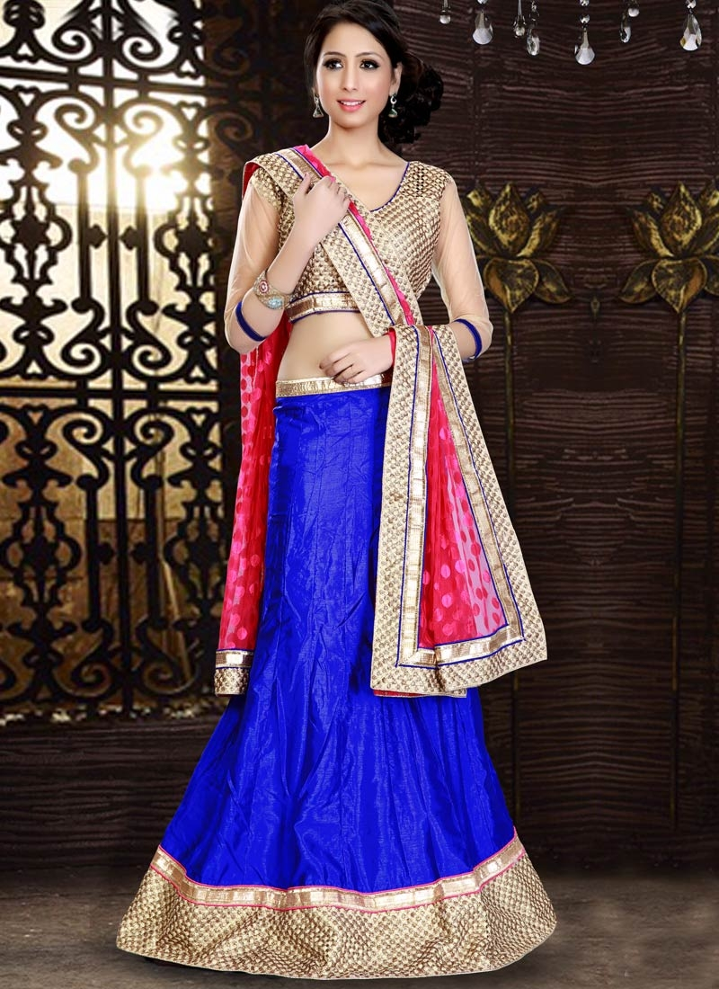 Praiseworthy Patch Border Work Blue Color Party Wear Lehenga Choli