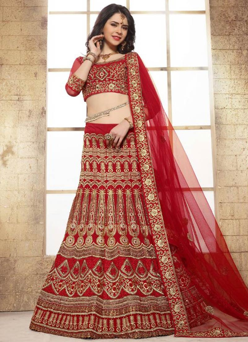 Praiseworthy Patch Border Work Bridal Lehenga Choli
