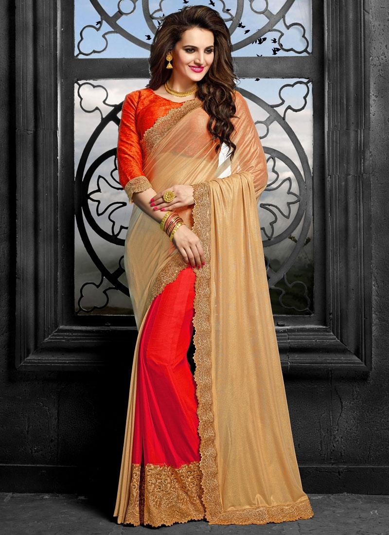 Praiseworthy Patch Border Work Half N Half Designer Saree