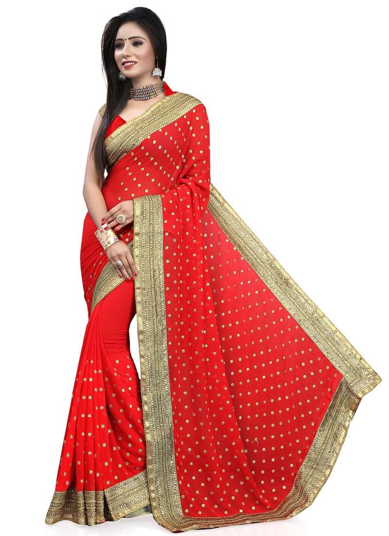 Praiseworthy Red Color Stone Work Designer Saree
