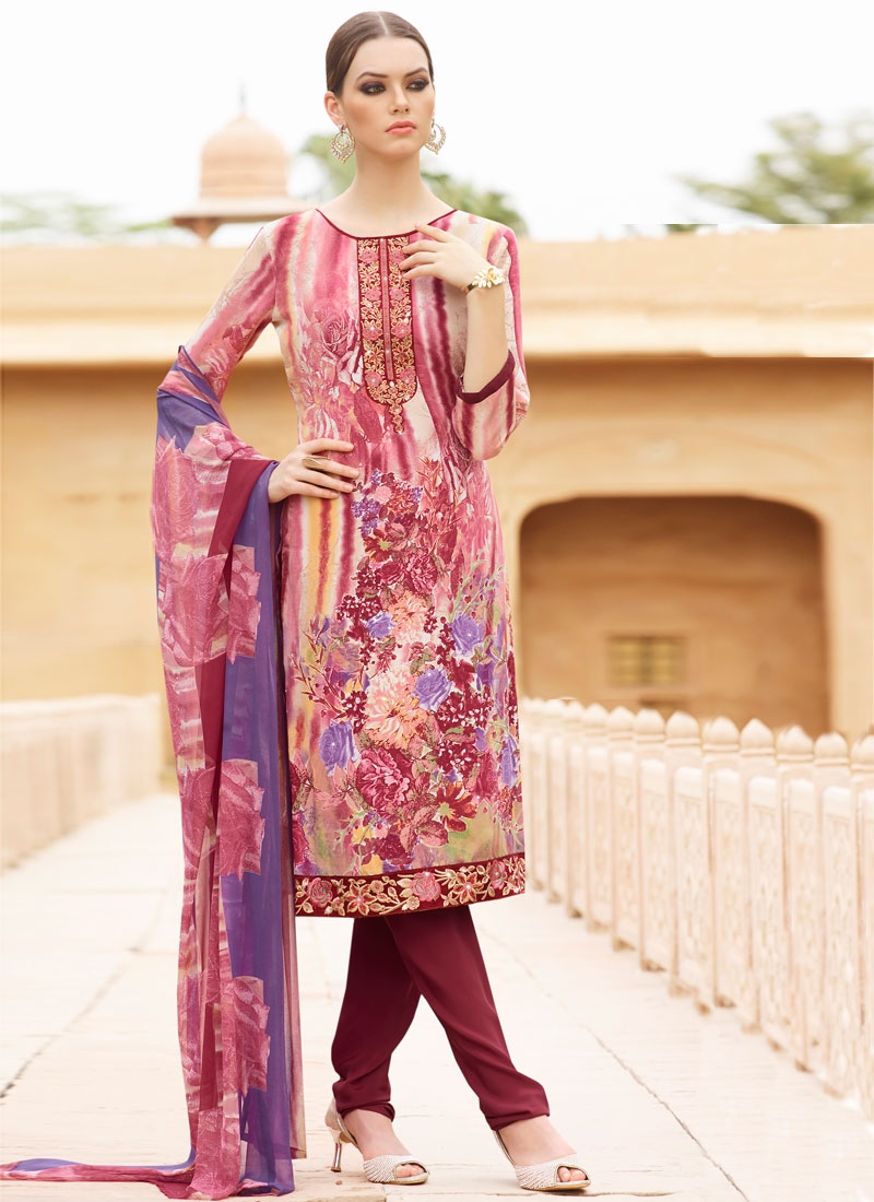 Praiseworthy Resham And Digital Print Work Churidar Salwar Suit