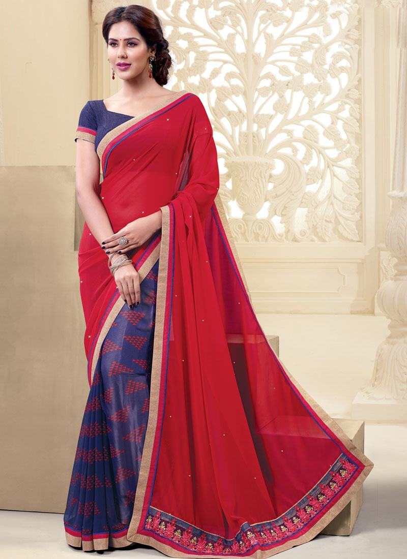 Praiseworthy Resham And Lace Work Half N Half Casual Saree