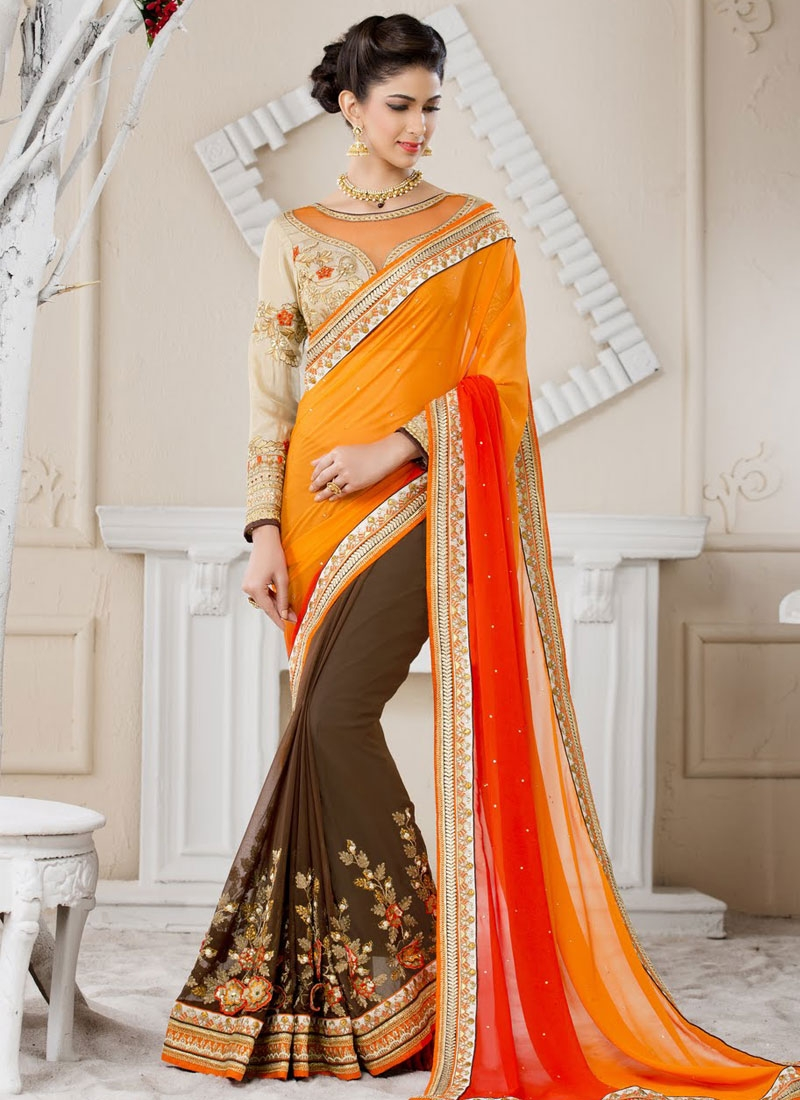 Praiseworthy Sequins Work Pure Chiffon Half N Half Wedding Saree