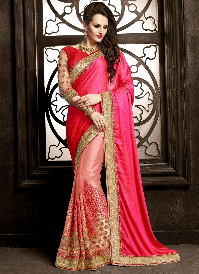 Praiseworthy Stone And Embroidery Work Half N Half Wedding Saree