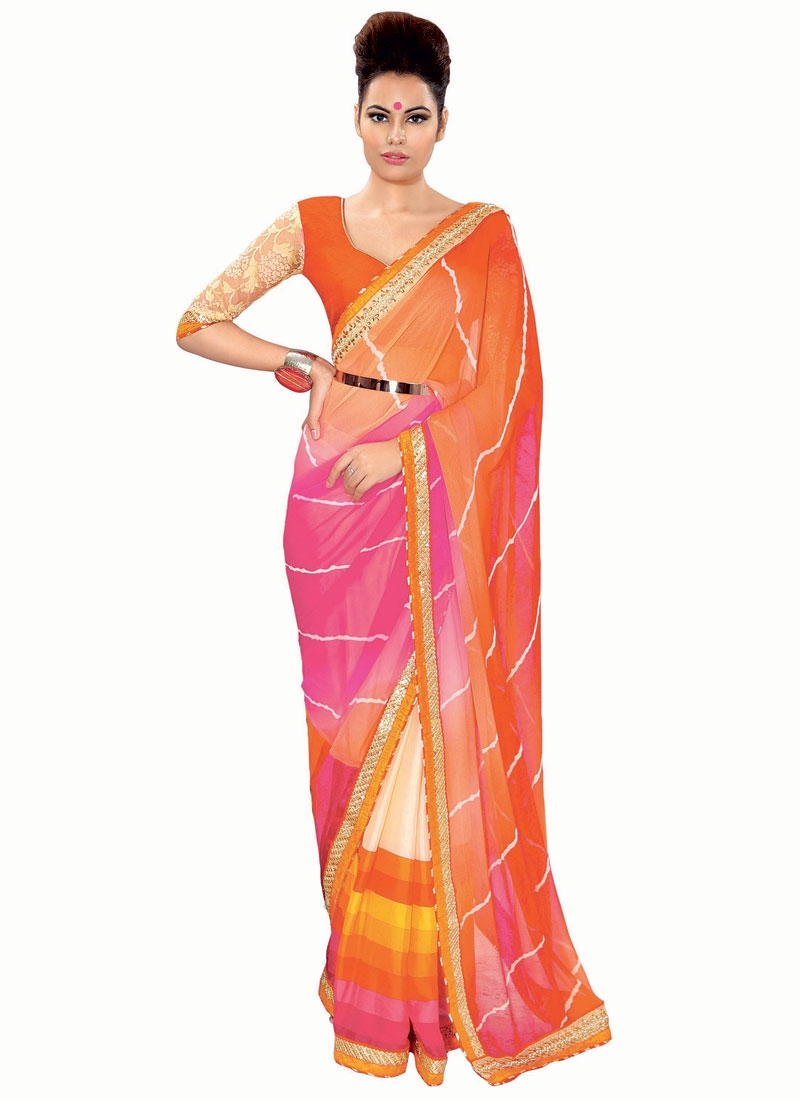 Praiseworthy Stone Work Faux Georgette Party Wear Saree