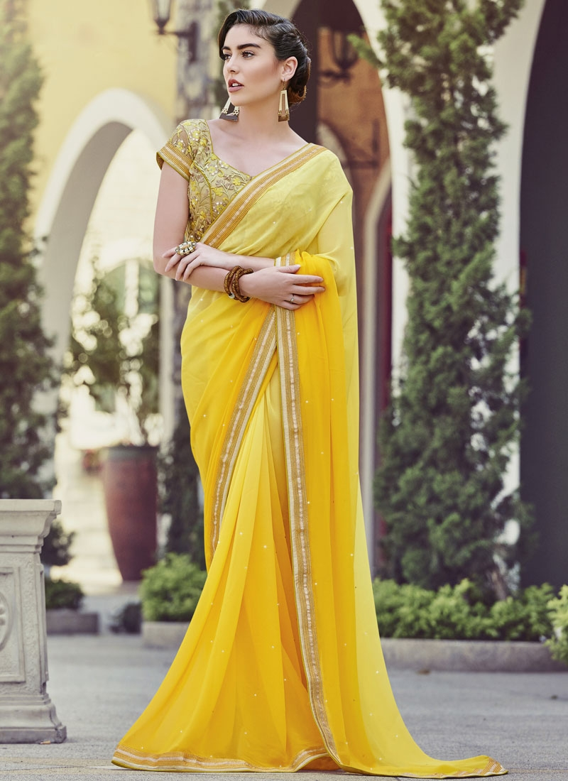 Praiseworthy Stone Work Yellow Color Party Wear Saree