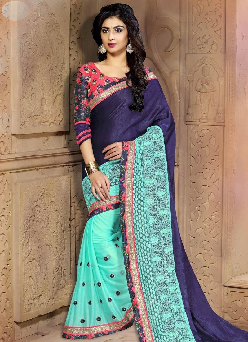Praiseworthy Velvet Half N Half Designer Saree