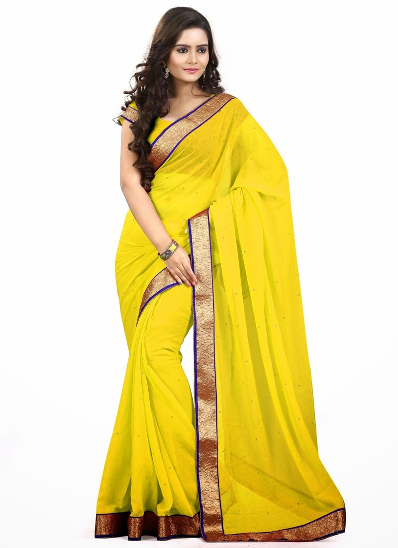 Praiseworthy Yellow Color Casual Saree