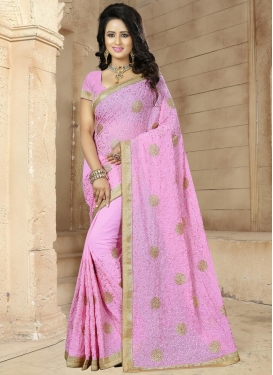 Precious Beads Work Faux Georgette Contemporary Saree For Ceremonial
