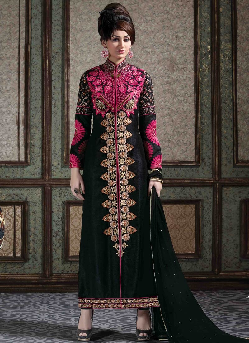 Precious Bhagalpuri Silk Black Color Designer Salwar Kameez