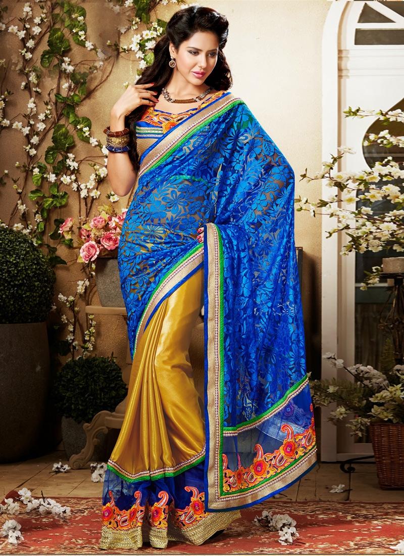 Precious Blue And Gold Half N Half Saree
