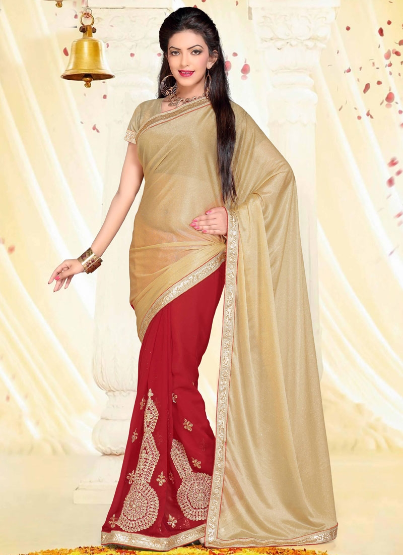Precious Booti And Stone Work Half N Half Party Wear Saree