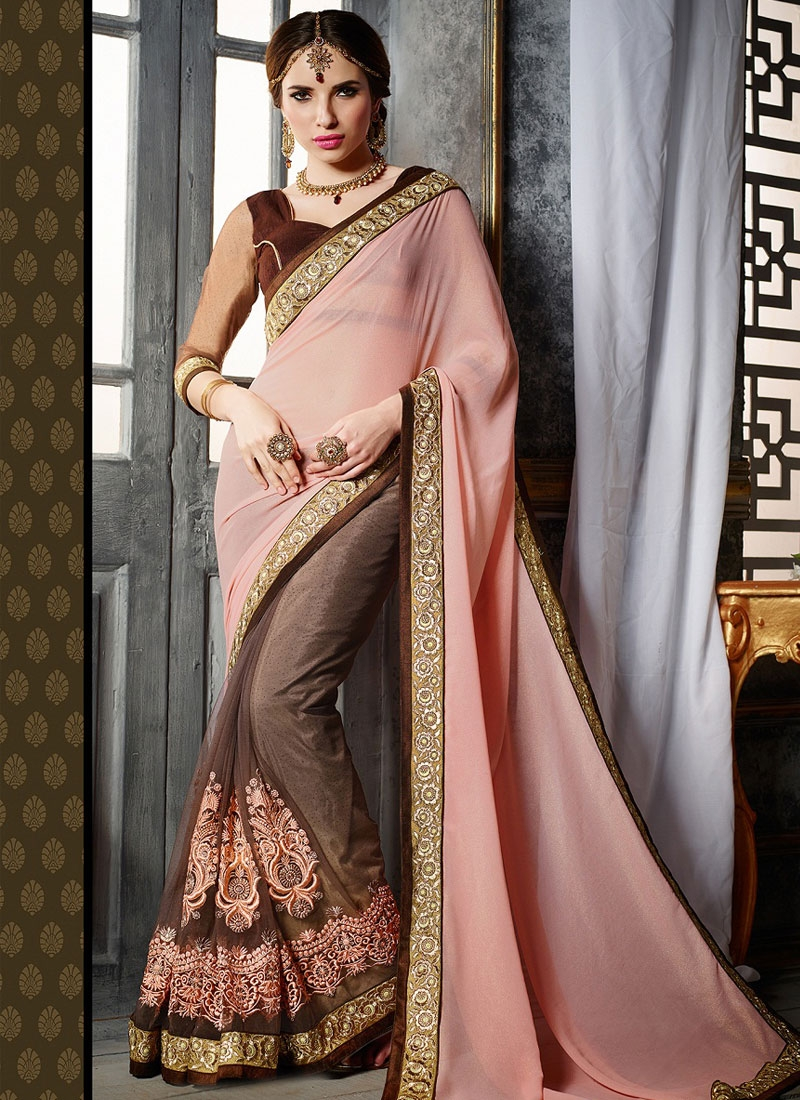 Precious Booti And Stones Work Half N Half Party Wear Saree