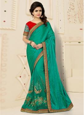 Precious Crush Booti Work Green Designer Classic Saree