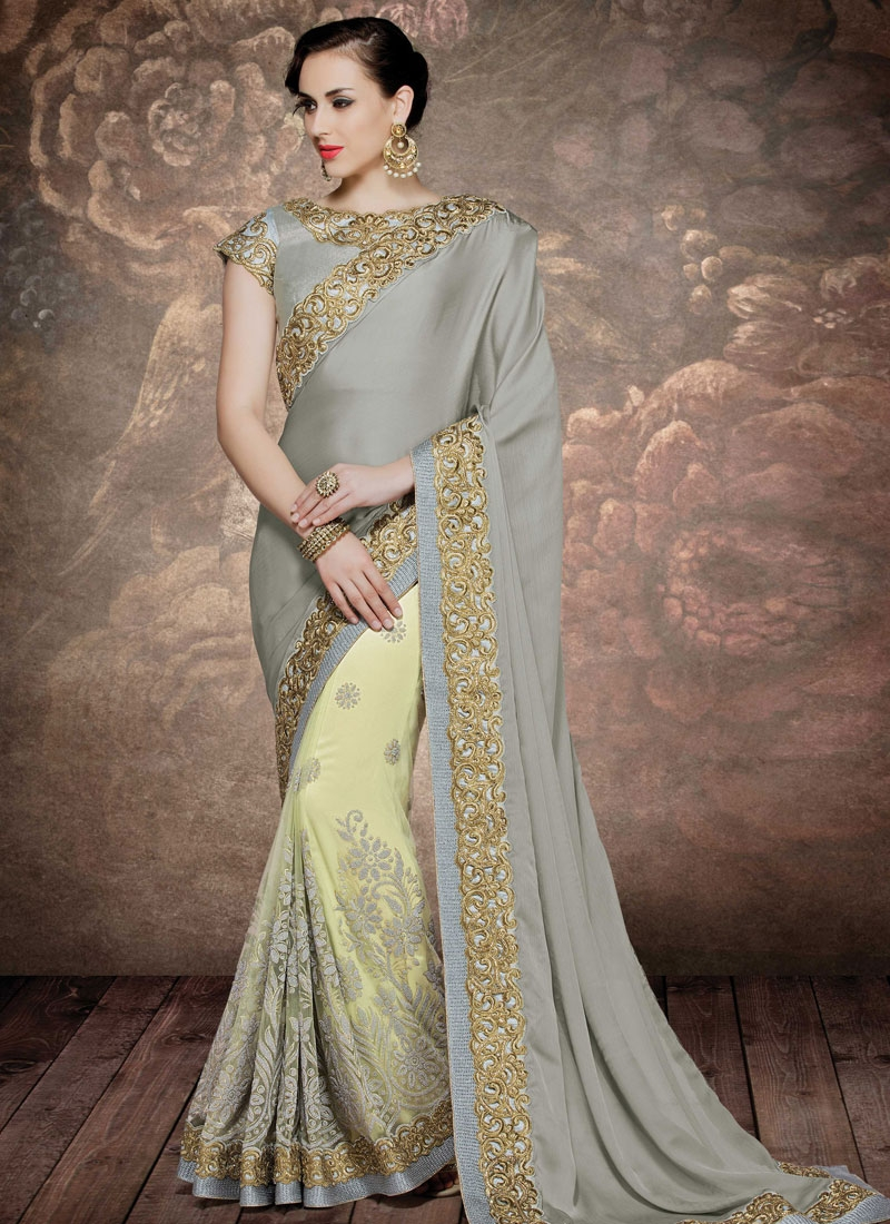 Precious Embroidery And Stone Work Half N Half Wedding Saree