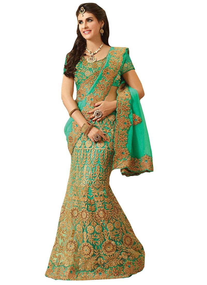 Precious Embroidery Work Net Bridal Lehenga Saree