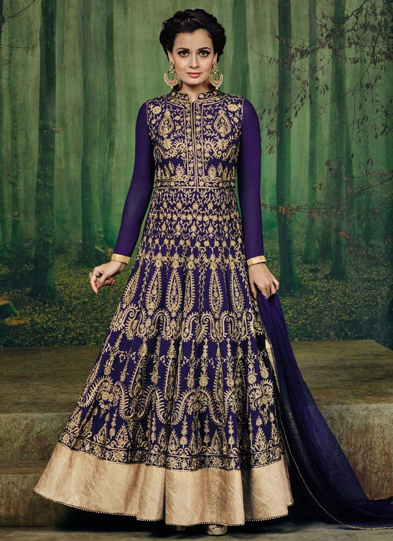 Precious Faux Georgette Dia Mirza Long Length Designer Suit