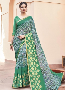 Precious Faux Georgette Print Work Green and Off White Traditional Saree