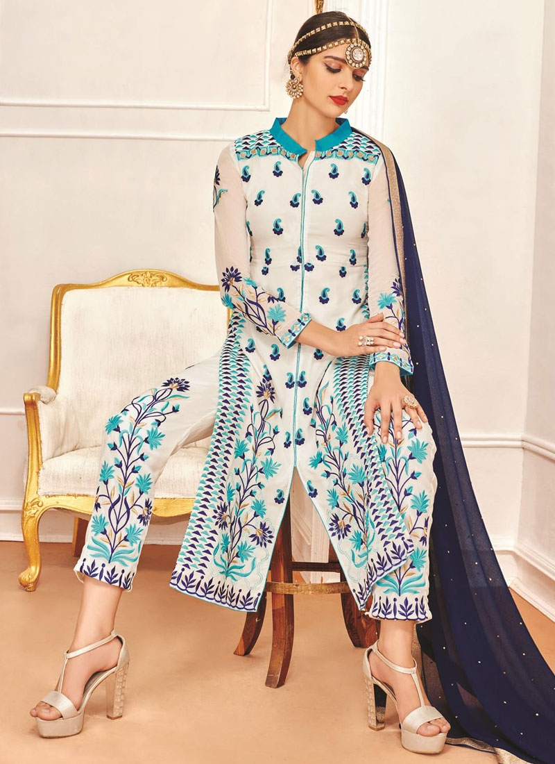 Precious Faux Georgette Resham Work Pant Style Party Wear Suit