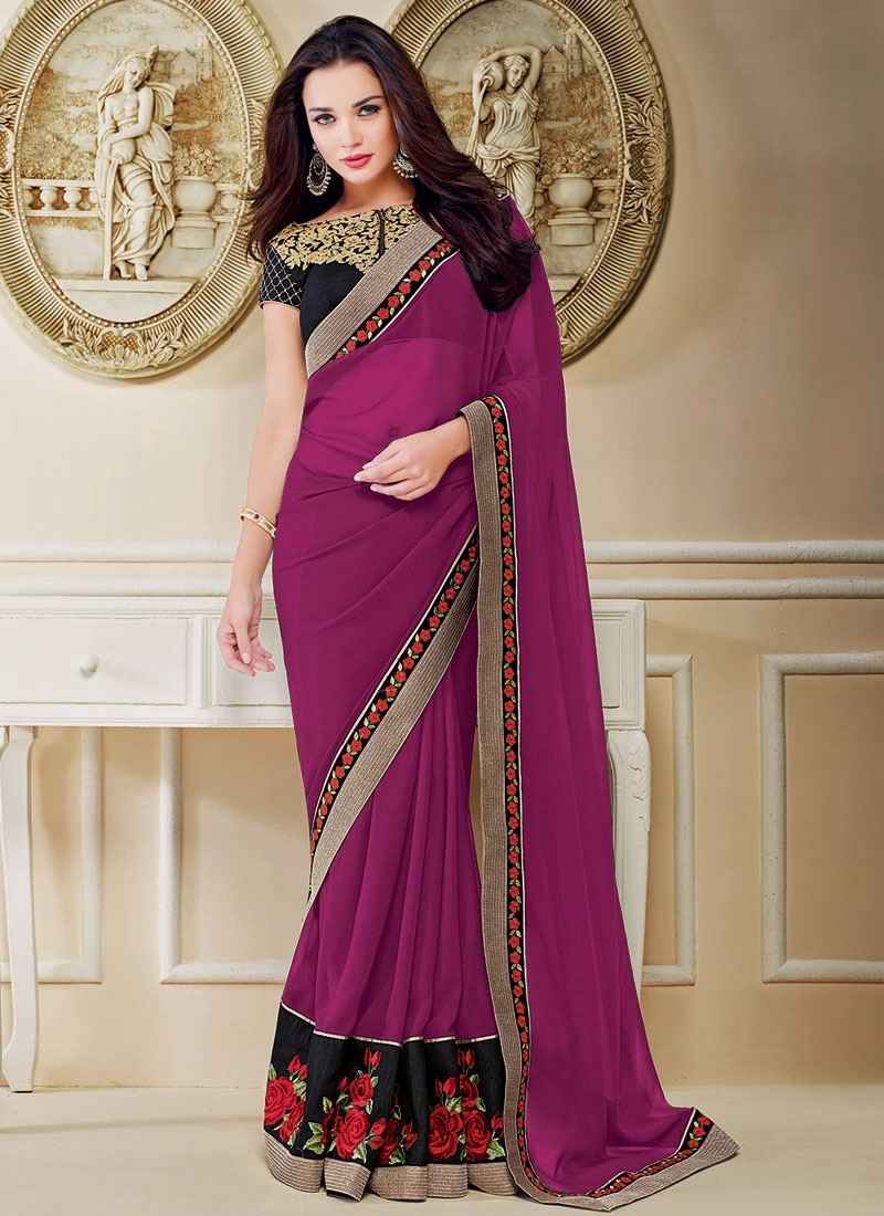 Precious Fuchsia Color Amy Jackson Party Wear Saree