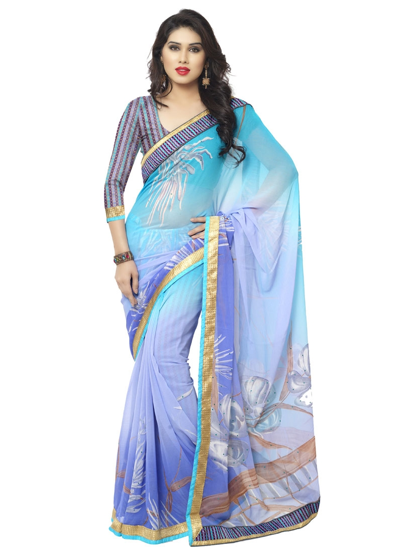 Precious Lace Work Faux Chiffon Casual Saree