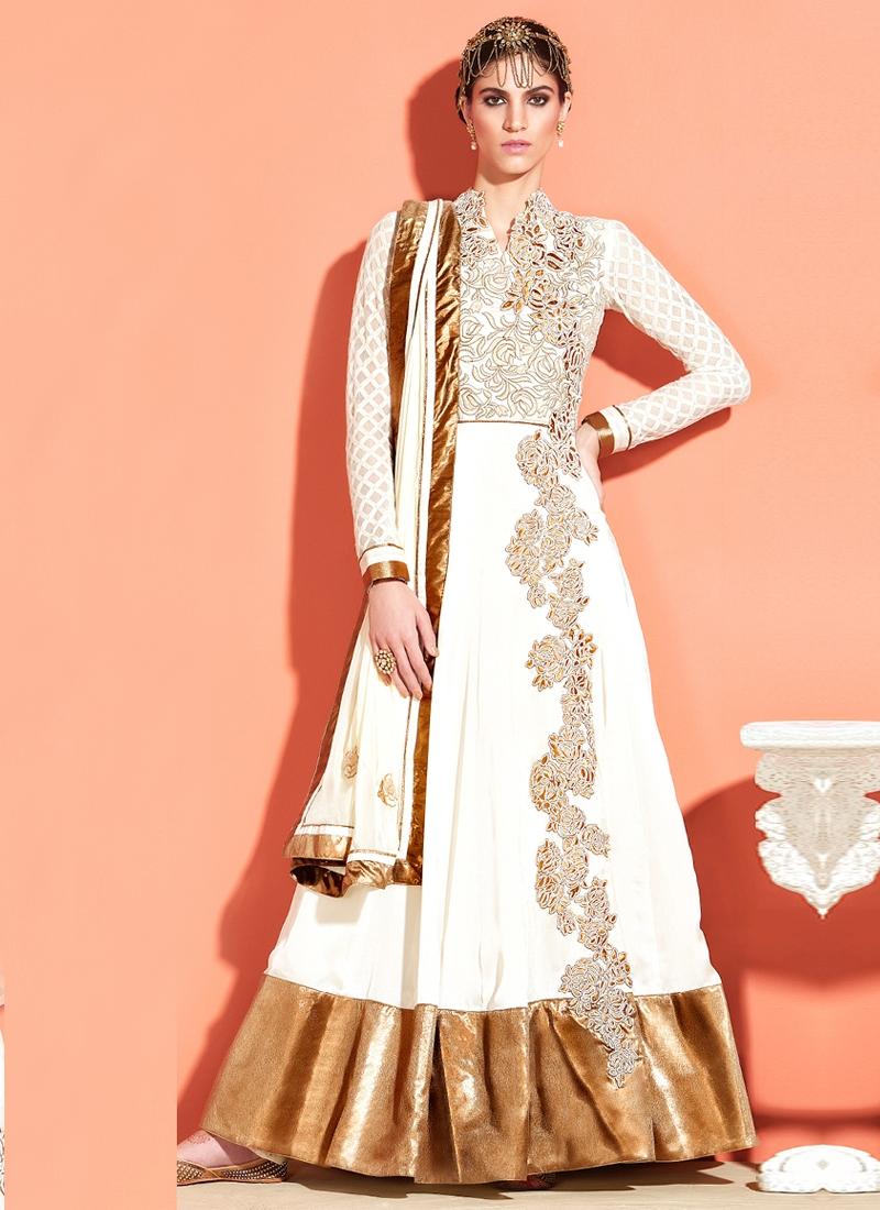 Precious Off White Color Anarkali Salwar Kameez