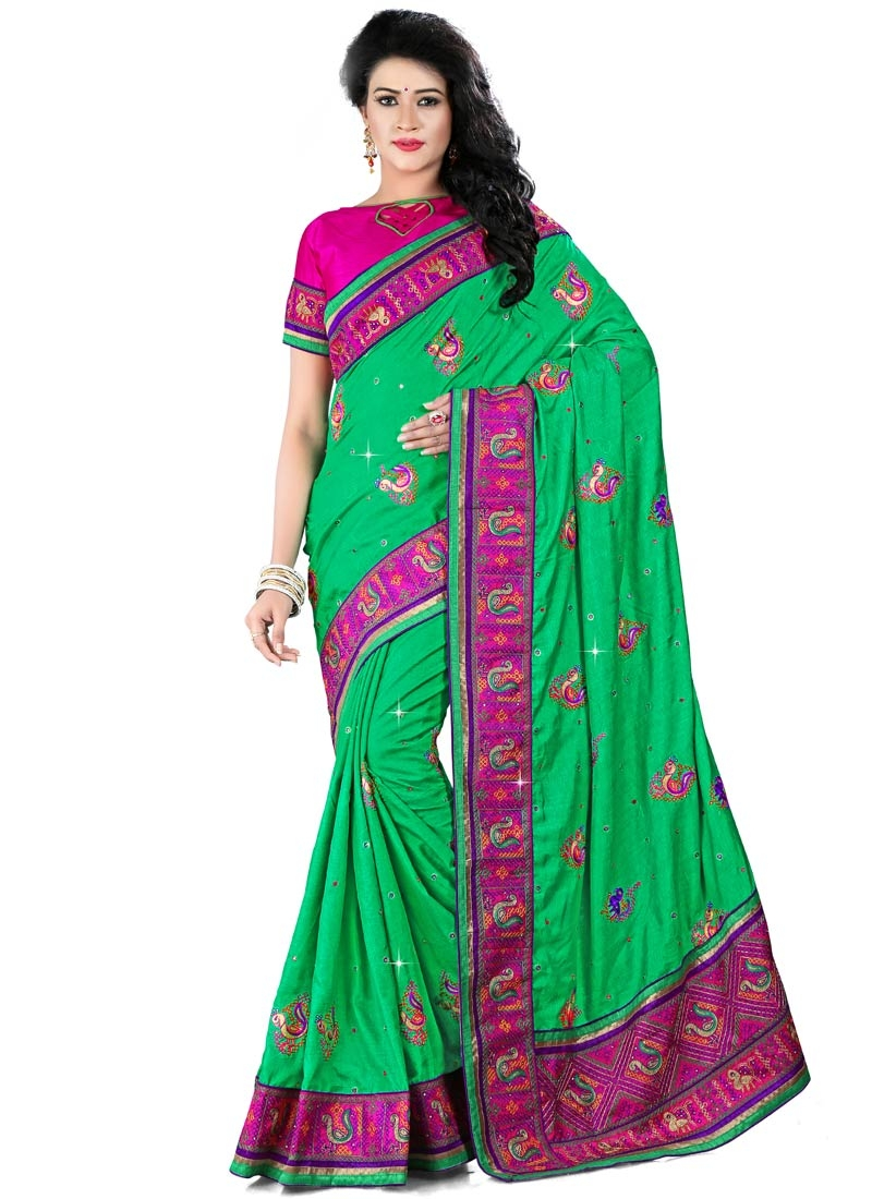 Precious Patch Border Work Manipuri Silk Designer Saree