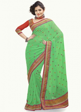 Precious Resham Work Faux Georgette Party Wear Saree