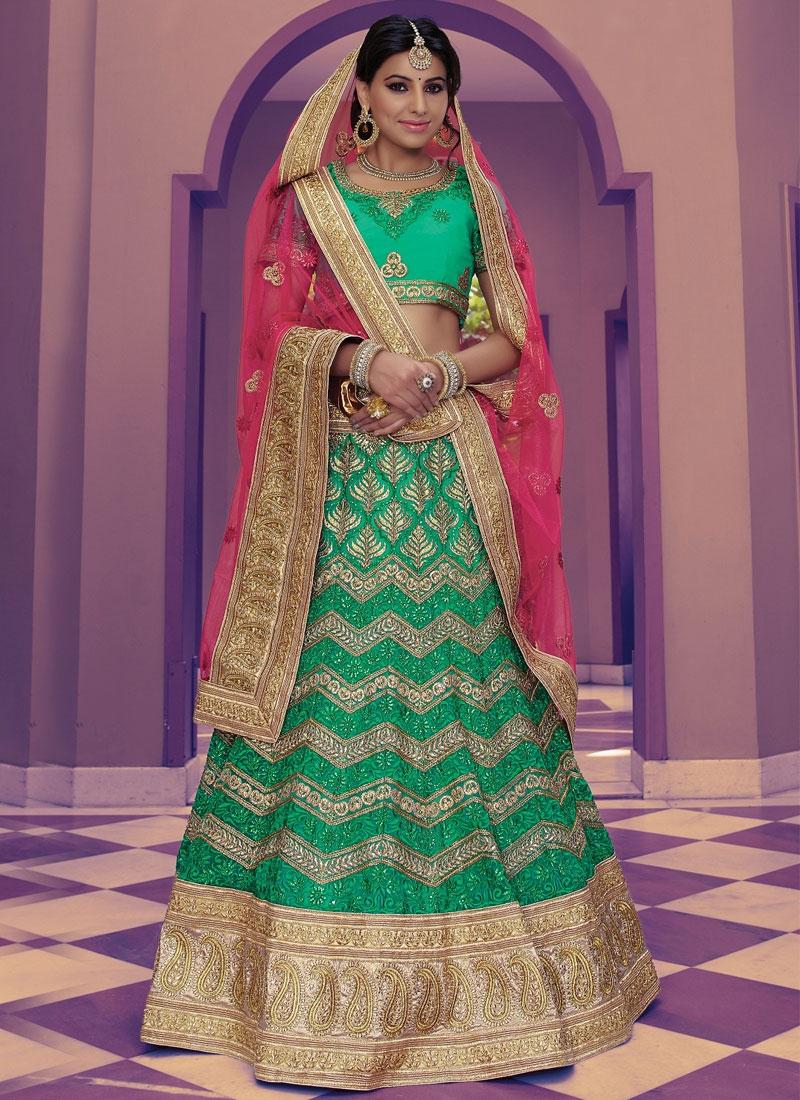Precious Stone Work Green Color Net Bridal Lehenga Choli