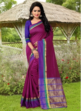 Preferable Banarasi Silk Magenta and Navy Blue Thread Work Trendy Classic Saree
