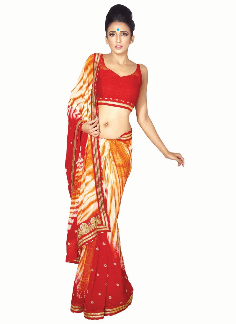 Preferable Bandhej Print Work Party Wear Saree