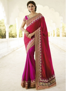 Preferable Beads And Resham Work Half N Half Designer Saree