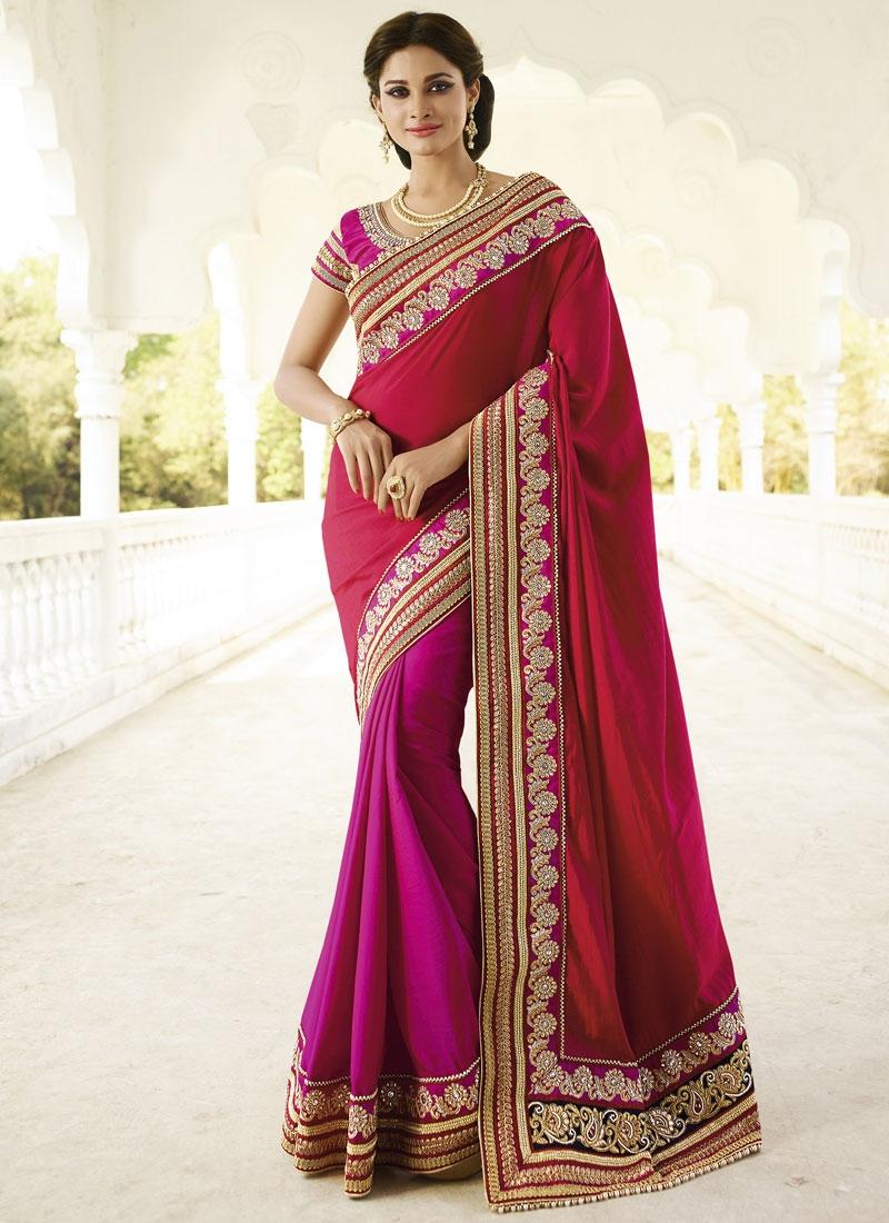 Preferable Beads And Resham Work Half N Half Designer Saree