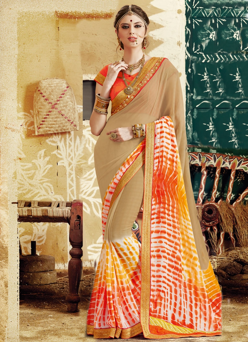 Preferable Beads Work Faux Georgette Party Wear Saree