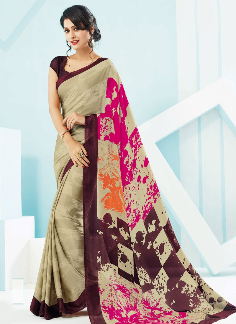 Preferable Beige Color Crepe Silk Casual Saree