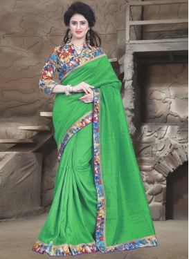Preferable Bhagalpuri Silk Green Color Casual Saree