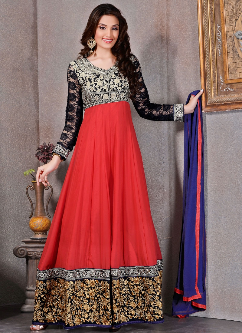 Preferable Black And Red Color Floor Length Anarkali Suit