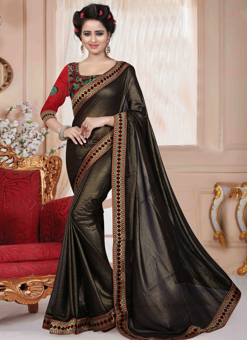 Preferable Black Color Lace Work Casual Saree