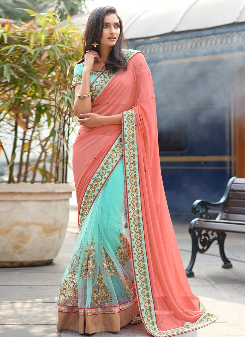 Preferable Booti And Beads Work Half N Half Designer Saree