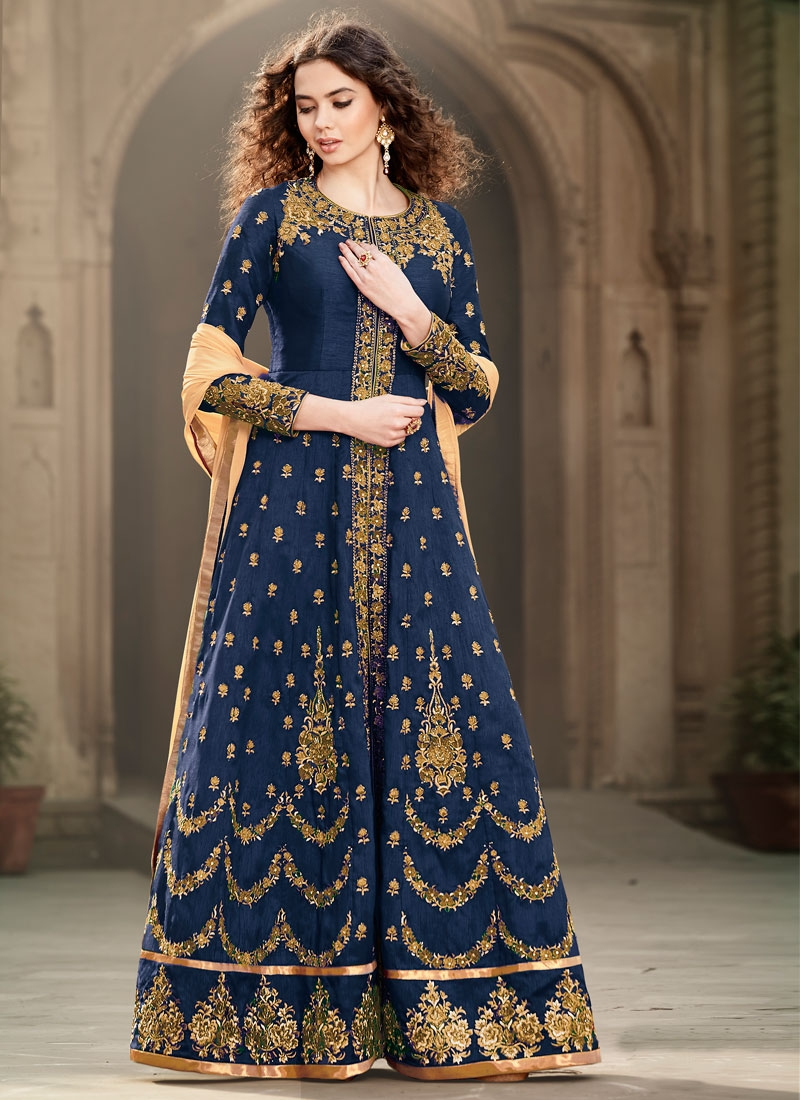 Preferable Booti And Stone Work Long Length Wedding Salwar Suit