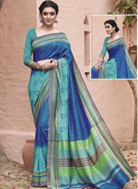 Preferable Embroidered Work Aqua Blue and Blue Classic Saree