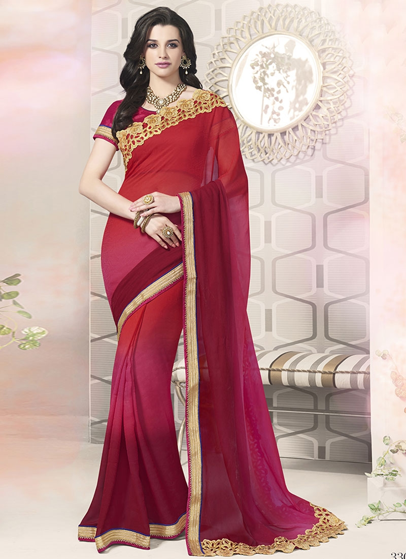 Preferable Faux Georgette Resham Work Party Wear Saree