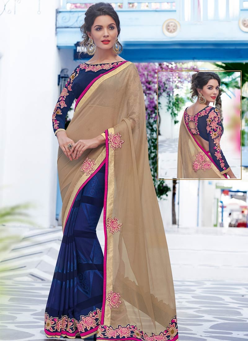 Preferable Floral Work Jacquard Half N Half Designer Saree