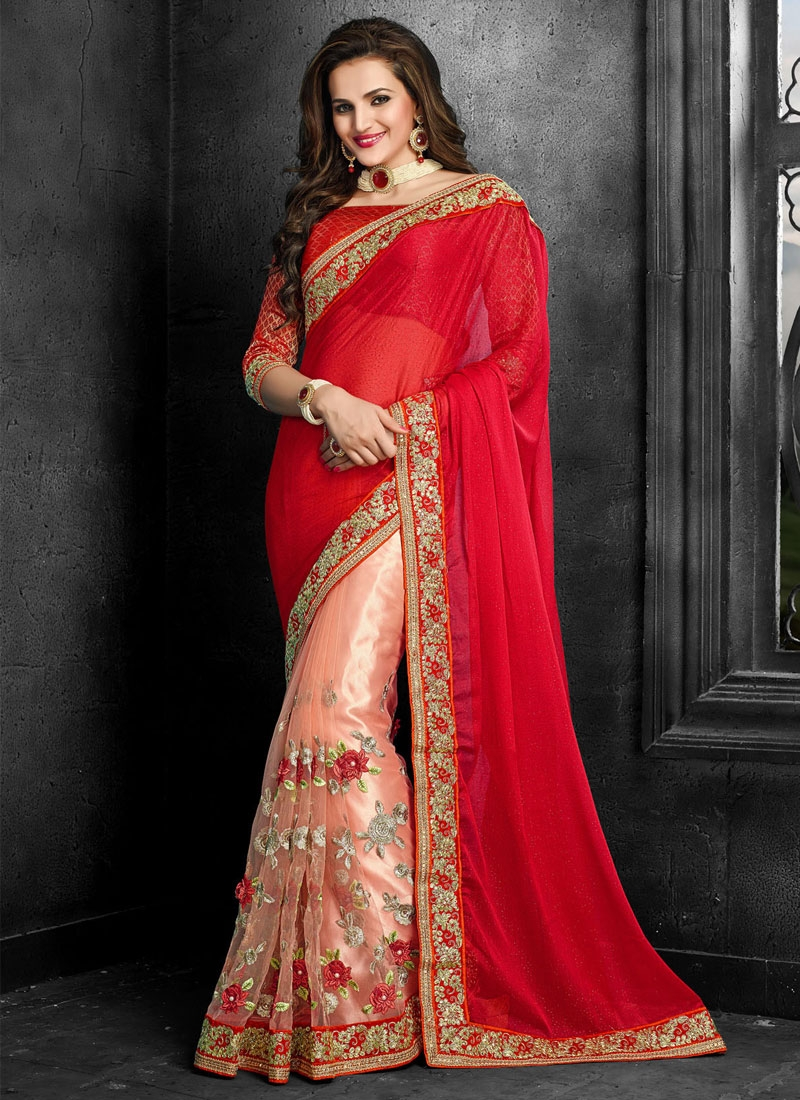 Preferable Floral Work Net Half N Half Wedding Saree