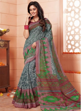 Preferable Green and Grey Trendy Classic Saree For Casual