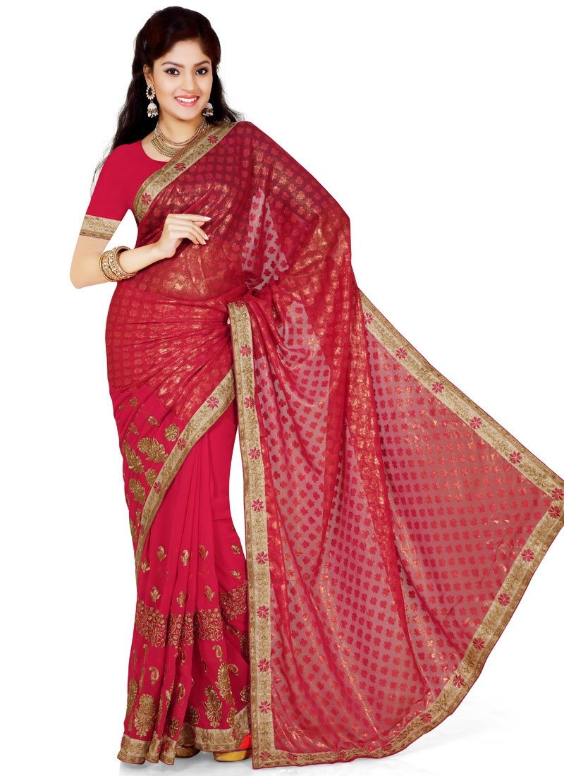 Preferable Lace And Embroidery Work Party Wear Saree