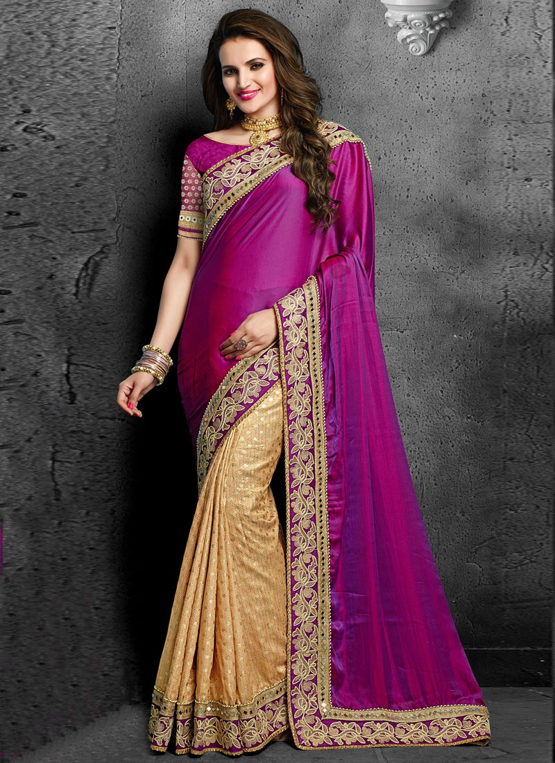 Preferable Lace And Mirror Work Half N Half Wedding Saree