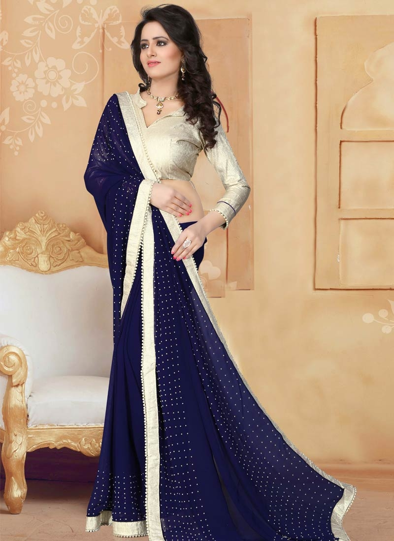 Preferable Lace Work Navy Blue Color Party Wear Saree